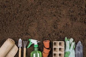 plat leggen van tuinieren samenstelling met kopie ruimte. resolutie en mooie foto van hoge kwaliteit