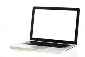 laptop die op wit wordt geïsoleerd foto