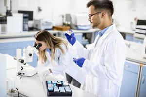 groep jonge onderzoekers die chemische gegevens in het laboratorium analyseren foto