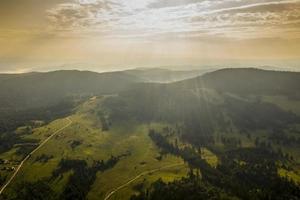 luchtfoto op bergbos op een zomerdag foto