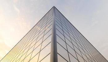 bovenhoek van een gebouw vol ramen die de zonsondergang weerspiegelen, 3d render foto