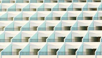 gevel van appartementen met hun terrassen verlicht door de zon bij zonsondergang, 3d render