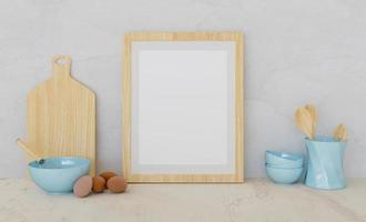 mockup van een houten frame met keukenaccessoires en eieren aan de zijkanten, 3D-rendering foto
