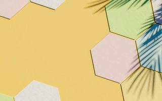 kartonnen zeshoeken achtergrond met pastelkleur en palmboom schaduw met kopie ruimte, 3d render foto