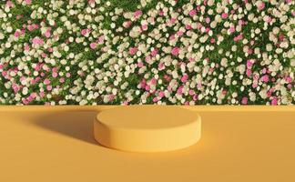 productstandaard met witte en paarse bloemen, 3D-rendering foto
