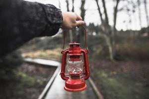 bijgesneden hand met lantaarn in het bos foto