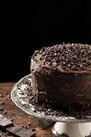heerlijke chocoladetaart met kopie ruimte foto
