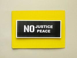 geen gerechtigheid geen teken van vredesprotest foto