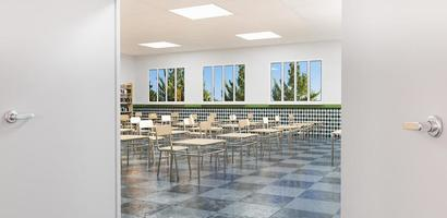 klaslokaal gezien vanaf de toegangsdeur foto