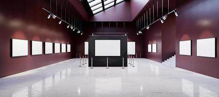 mockup van kunstgalerie museum vol witte schilderijen foto