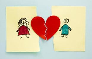 familietekening met scheiding, concept foto