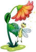 een libel die onder de bloem vliegt foto