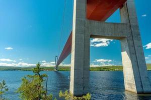 lage kijkhoek van onder de brug bij de hoge kust foto