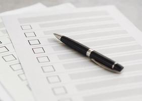 vragenlijst voor meerdere verkiezingen met een hoge hoek foto