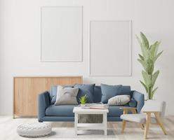 woonkamer, minimale stijl, 3D-rendering foto