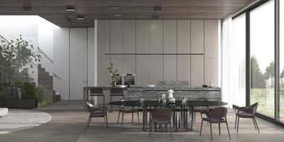 moderne eetkamer en keuken open plattegrond foto