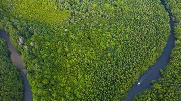 luchtfoto bovenaanzicht van boot op de rivier in behoud van mangrovebossen in Thailand foto