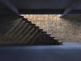 3D-rendering afbeelding van trap met schaduw op de muur foto
