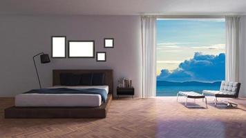 3ds teruggegeven beeld van kamer aan zee foto
