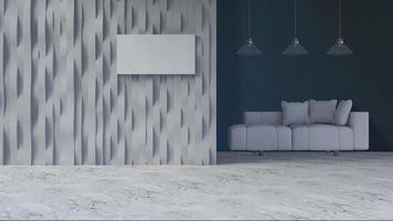 3D-rendering afbeelding van gebogen muur en bankstel foto