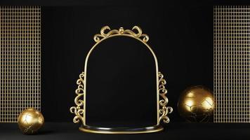 voetstuk geïsoleerd op zwarte achtergrond met gouden frame foto
