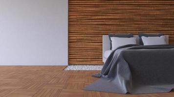 3d bed en bamboe muur foto