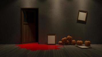 3D-weergave van interieur met pompoen hoofd foto