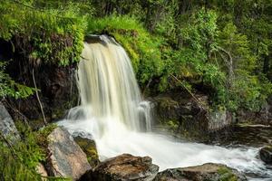 kleine waterval midden in een bos in zweden foto