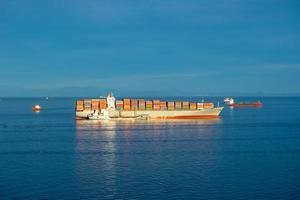 zeegezicht met een groot containerschip op de achtergrond van de zee. foto