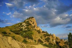 natuurlijk landschap met een hoge klif bedekt met vegetatie foto