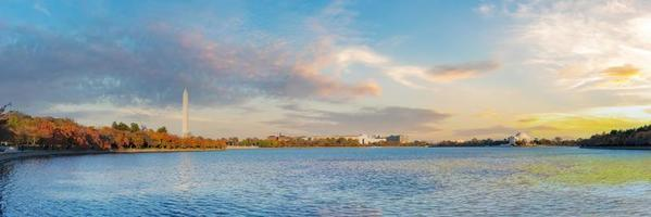 washington dc skyline panorama-uitzicht op getijdenbassin met jefferson memorial en washington monument foto