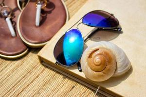 zonnebril met zeeschelp foto