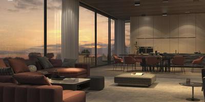 elegante woonkamer bij zonsondergang foto