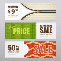 realistische gebreide textuur verkoop banners vector illustratie foto