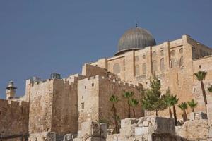al aqsa el marwani solomons stallen moskee in de oude stad van Jeruzalem in Israël foto