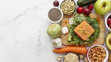 eenvoudige samenstelling van flexitarisch dieetvoedsel foto