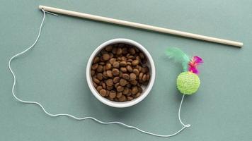 huisdieraccessoires stilleven met speelgoed en voerbak foto