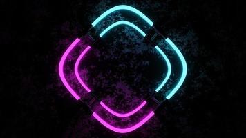3D-rendering met roze en blauwe neonlichten foto