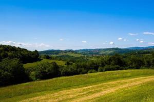 groene weiden en blauwe lucht foto