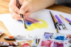 close-up van mannelijke kunstenaar hand schilderij water kleur met blured palet met kleur voorgrond foto