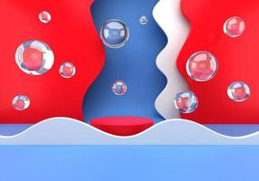podium met zeepbellen pastel verlopen luxe podium voor uw ontwerp met papieren golven modeshow stadium 3d foto