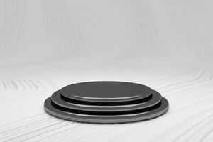 blanco productstandaard en zwarte achtergrond 3D-rendering foto