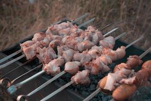 shish kebab gebakken op de grill foto