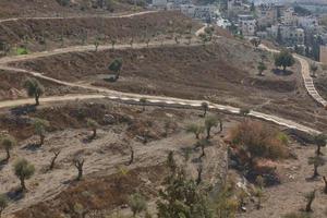 uitzicht op de heilige stad Jeruzalem in Israël vanaf de Olijfberg foto