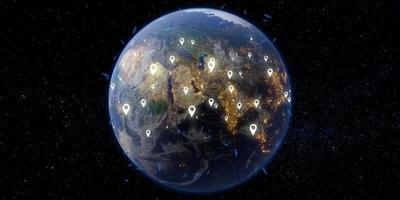 satelliet en communicatie concept aarde en ruimteachtergrond, 3d illustratie foto