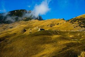 hut tussen de gele herfstvelden op de Alpen foto