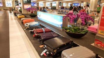 Singapore 2015- bagagetransportband op de luchthaven van Singapore Changi foto