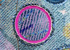 denim en katoen chenille tapijt, textuur pluizig foto