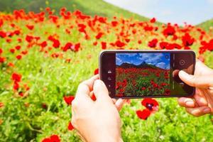 close-up beeld van handen met een smartphone met bloemen tentoongesteld buitenshuis foto
