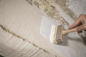 huisschilder schildert de muur met witte verf foto